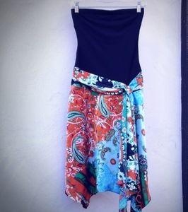 Cache Strapless Scarf Dress Asymmetric Hem 4 NWT